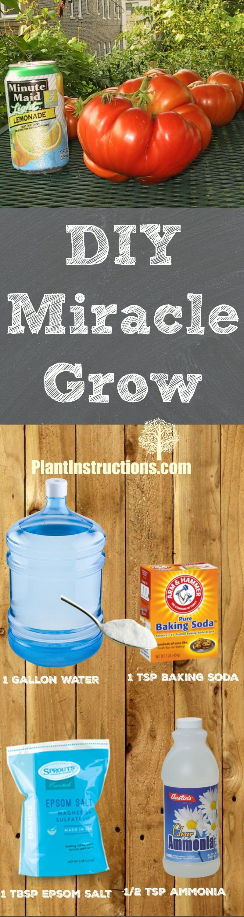 This homemade miracle grow recipe contains all natural ingredients so you know your plant is getting the best every time you feed it!