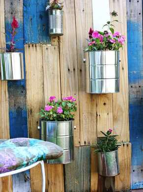 pallets and paint cans garden